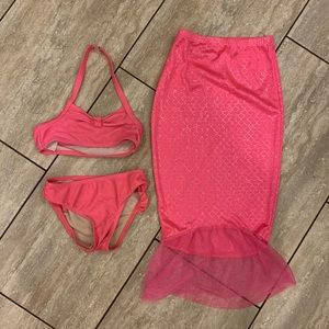 Girls size 5T Pink mermaid swimsuit